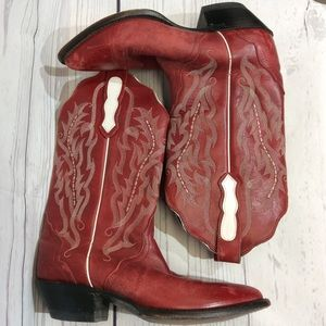 Nocona Womens Western Cowboy Boots 7B Red White